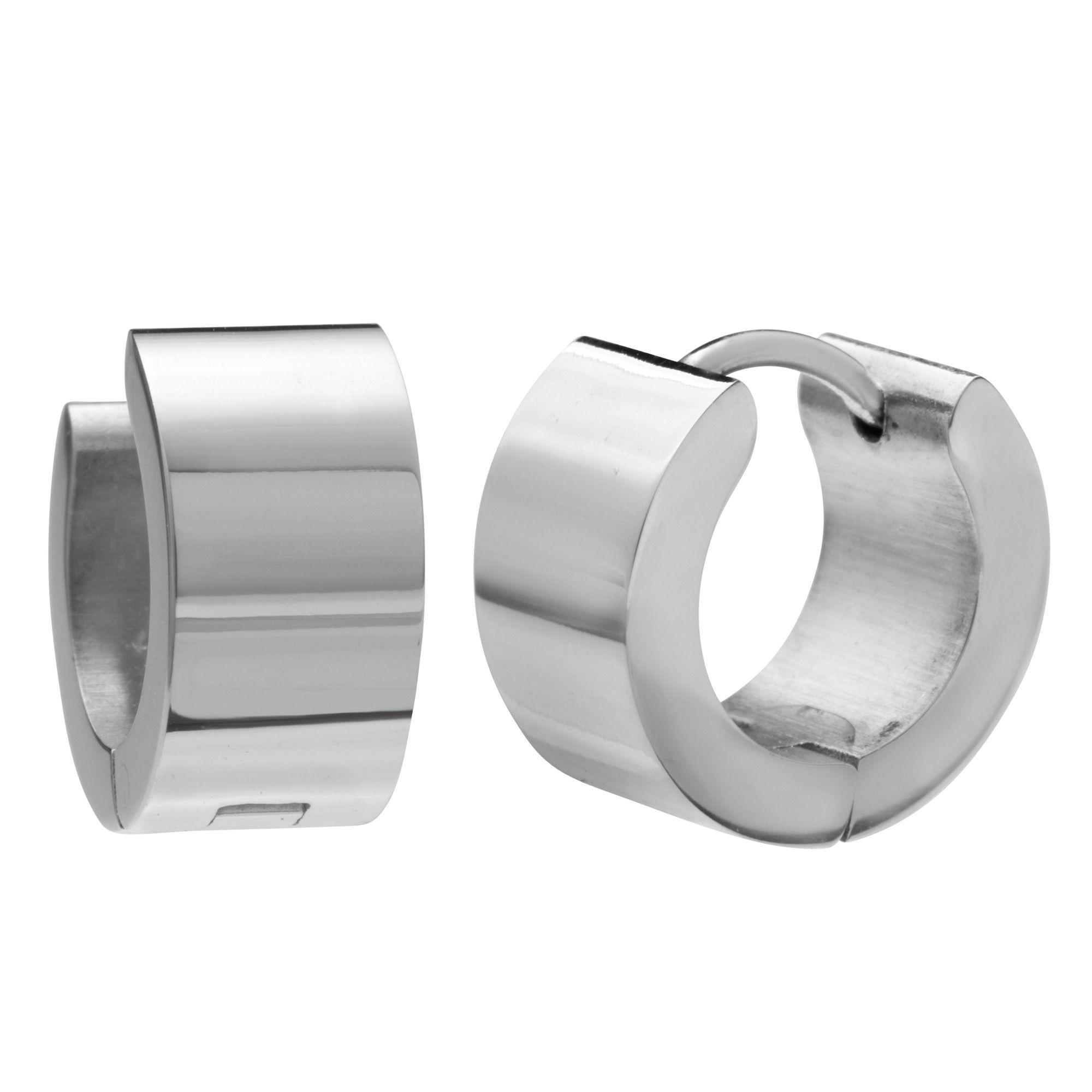 Mens Huggie Earrings in Stainless Steel Black Hoop Design 10mm (with Branded GiftBox) aKSXhVP