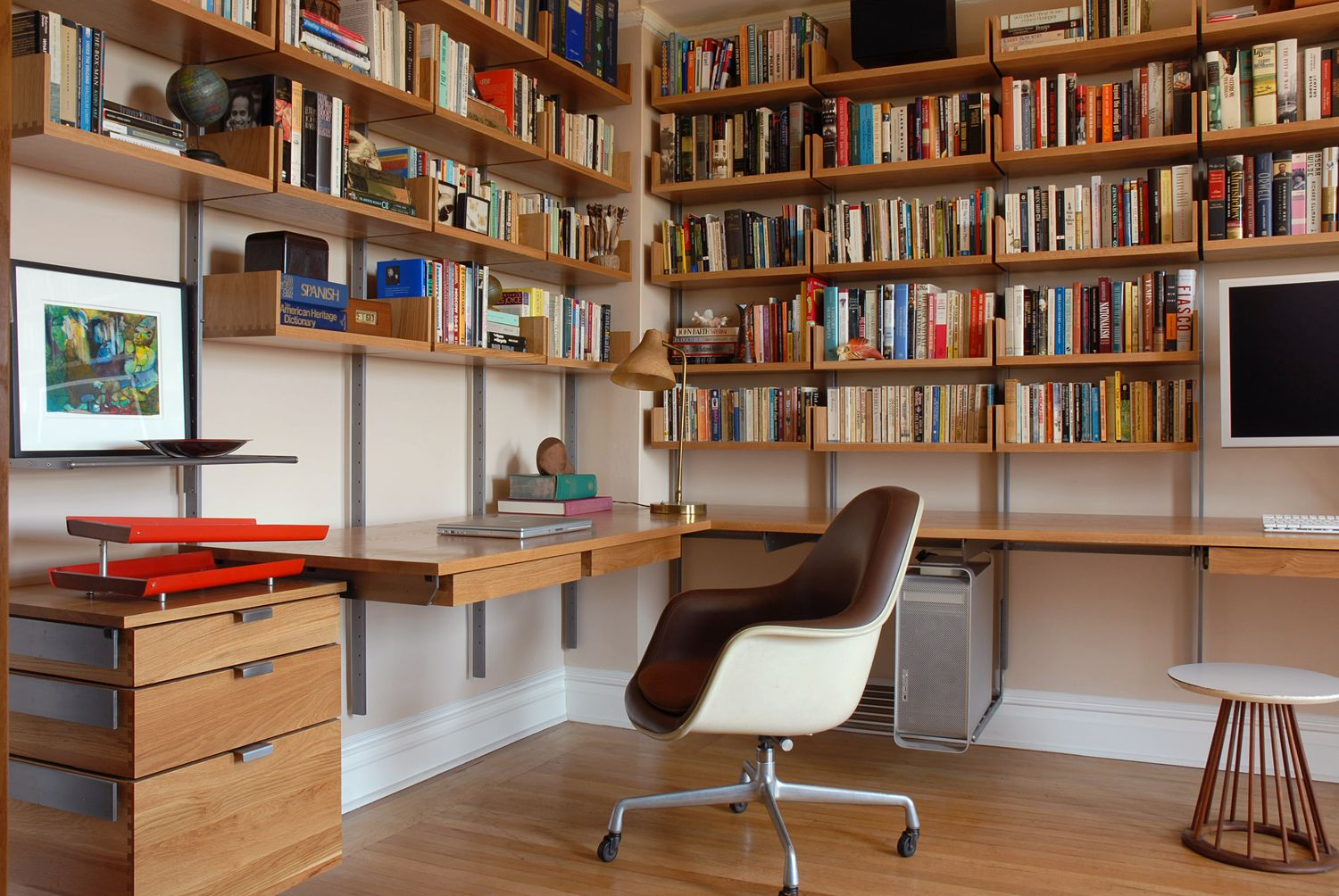 As4 Modular Office Configuration In Solid White Oak Cold Rolled Steel Photograph By Atlas I Small Office Furniture Modular Shelving Home Office Furniture