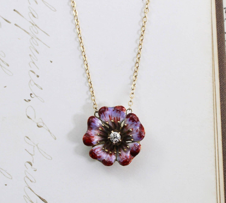 Antique Enamel & Diamond Flower Necklace, Victorian 14k