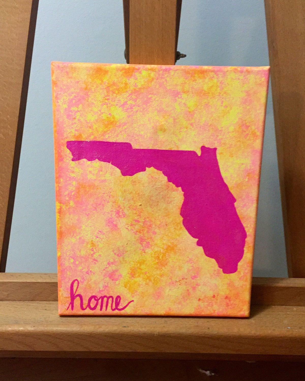 Florida home painting on canvas by SunshineShopByLily on Etsy