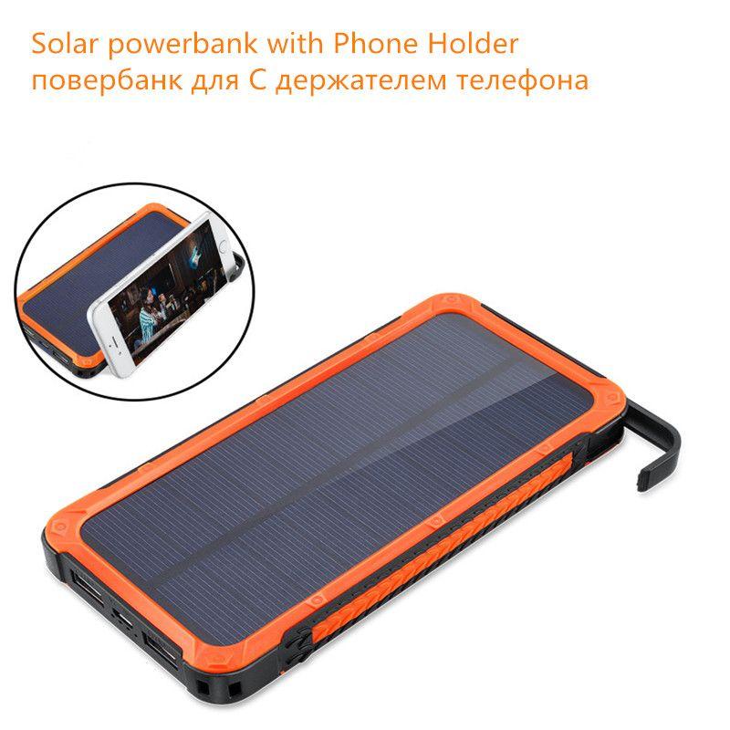 Solar Power Bank 12000mah 2017 New Arrivals Travel Waterproof Dual Usb Solar Battery Charger Powerbank With Phone Solar Power Bank Powerbank Cell Phone Charger