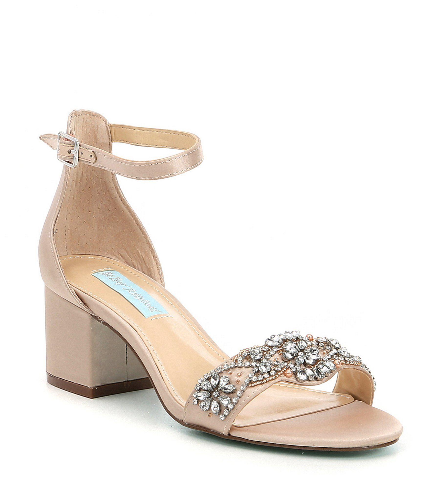 45092cc838 Blue by Betsey Johnson Mel Bejeweled Satin Block Heel Dress Sandals   Dillards