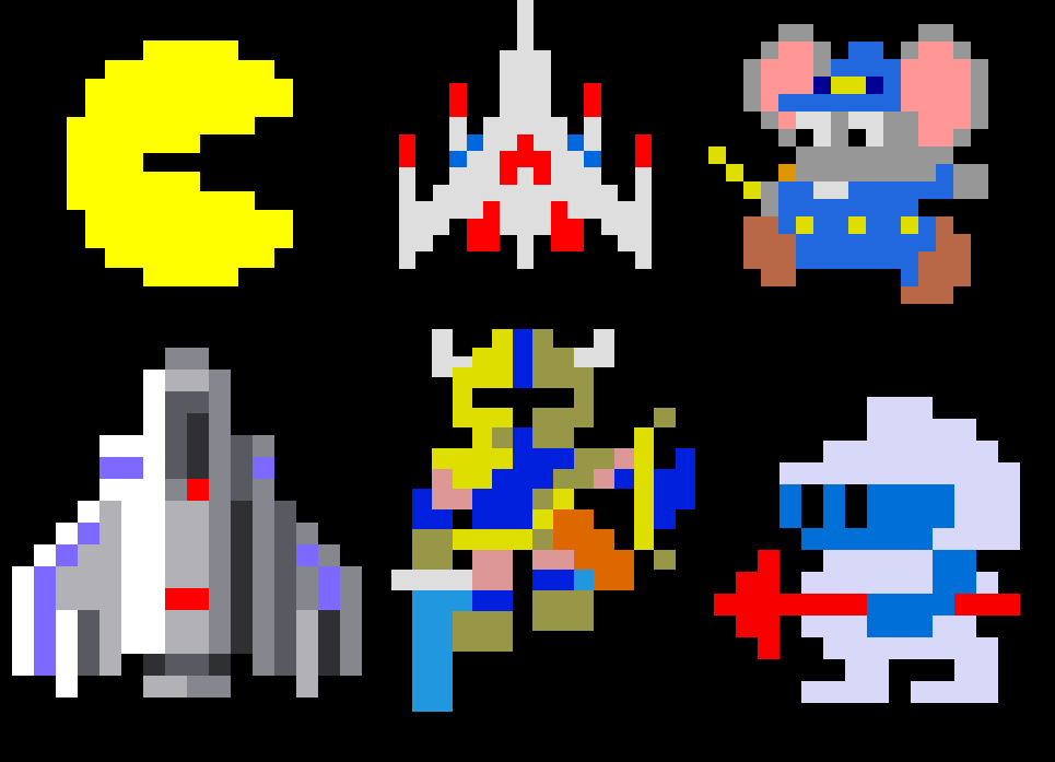 Namco Retro Video Game Characters Pixel Art Pacman