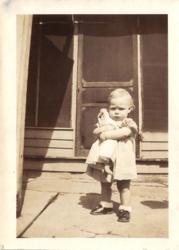 1920s Photo Cute Grumpy Little Girl with Cloth Doll on Porch Vintage Snapshot | eBay