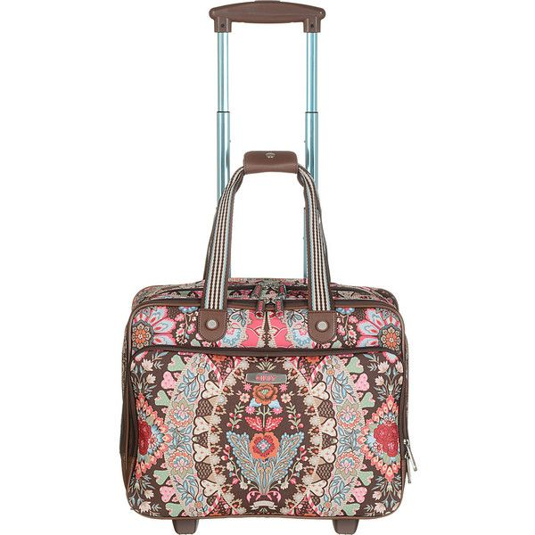 Oilily Travel Office Bag On Wheels Carry Luggage 4 265 Mxn Liked Polyvore Featuring Bags Brown And Small Rolling