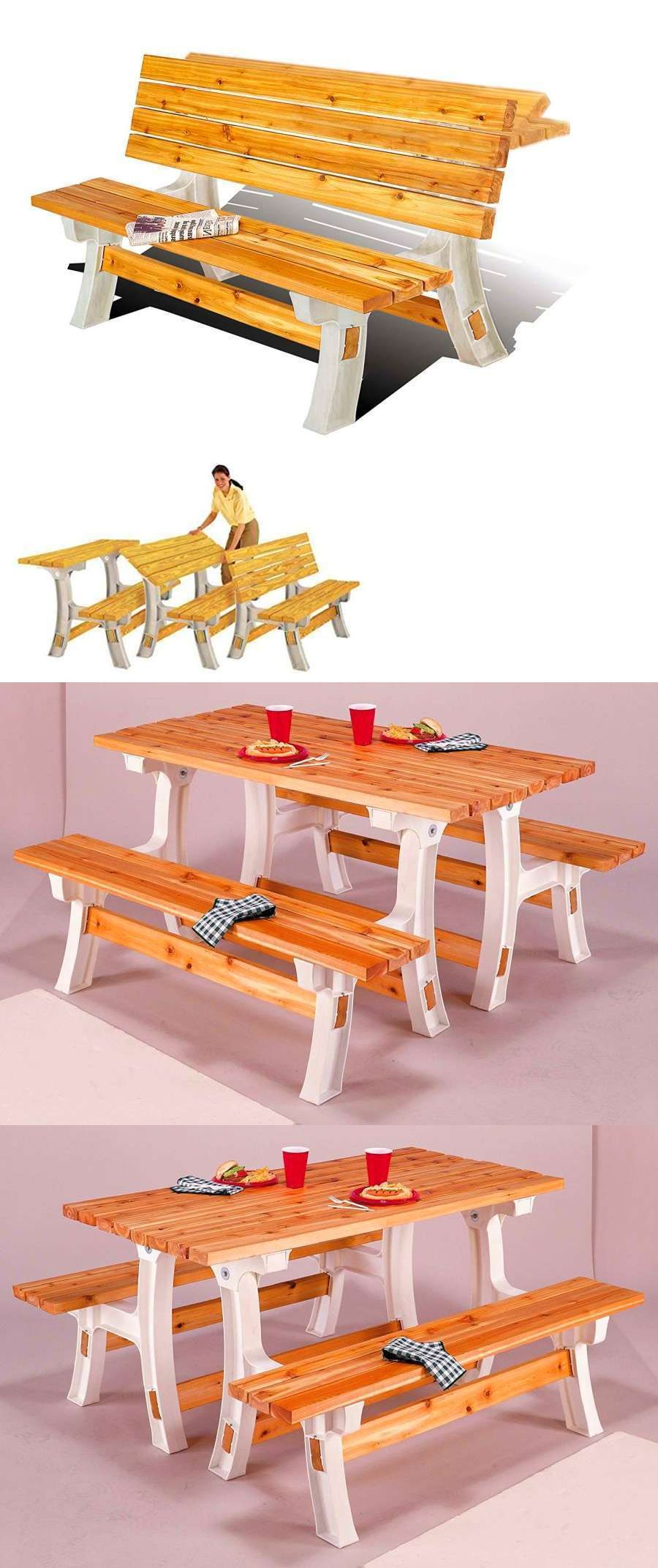 Benches 79678: Flip Top Picnic Folding Bench Table Outdoor Garden Patio Yard  Furniture Wooden