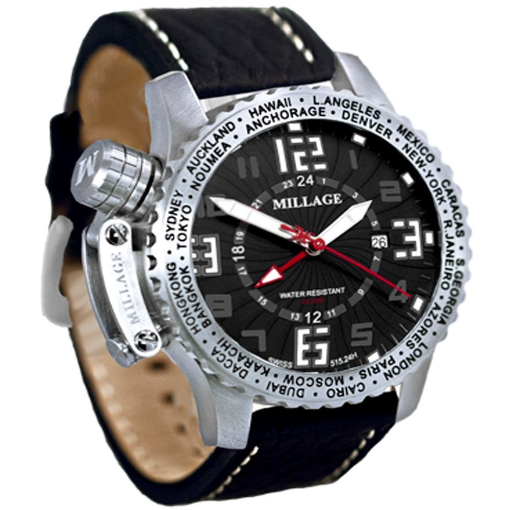 #Blingz Millage Moscow Collection Men's World Time/Swiss Made/Automatic Date #Millage