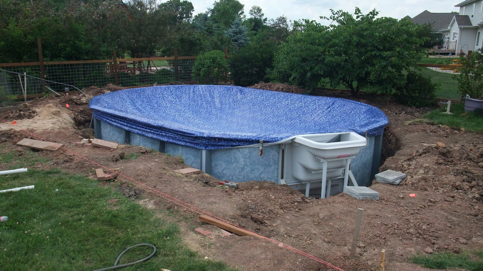 Installing 16x24 Buried Above Ground Pool Backyard Pool Pool Landscaping Diy Swimming Pool