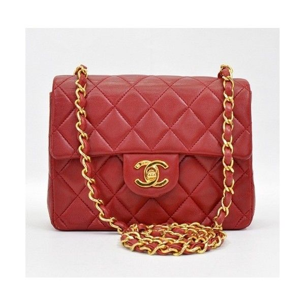 14b539f59 Pre-Owned Chanel Vintage Red Quilted Leather Mini Flap Bag ($1,950) ❤ liked  on Polyvore featuring bags, handbags, red, red crossbody purse, mini purse,  ...