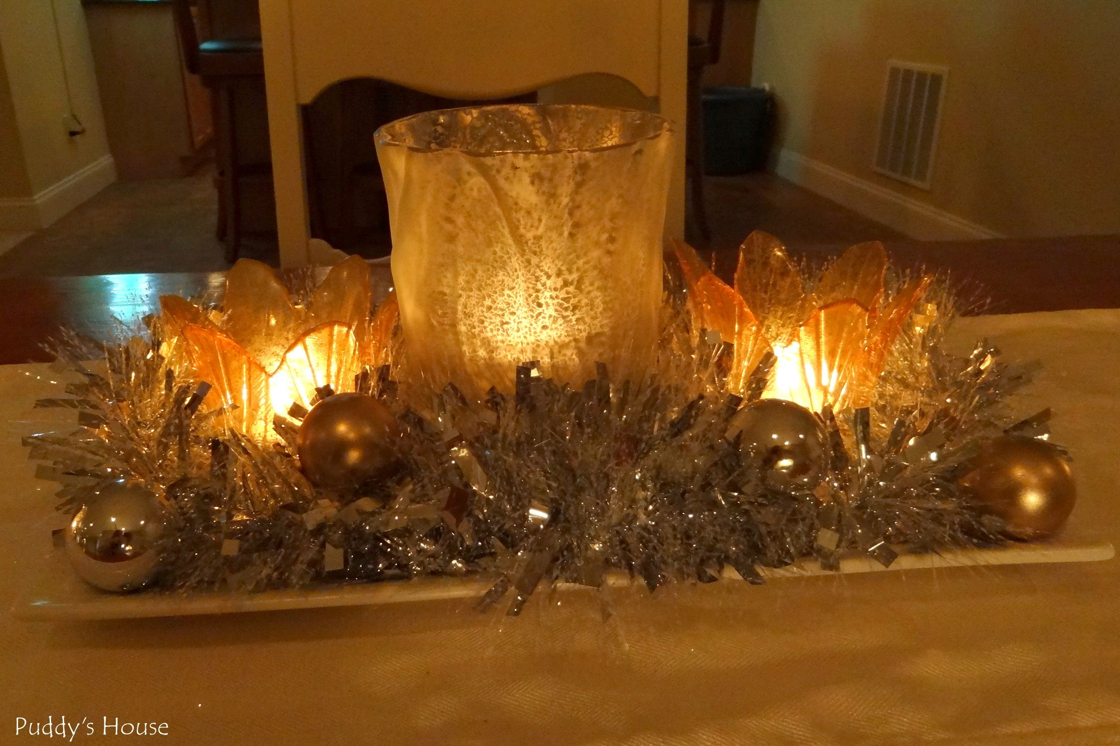 New Years - Centerpiece - candles tinsel ornaments mercury glass ...