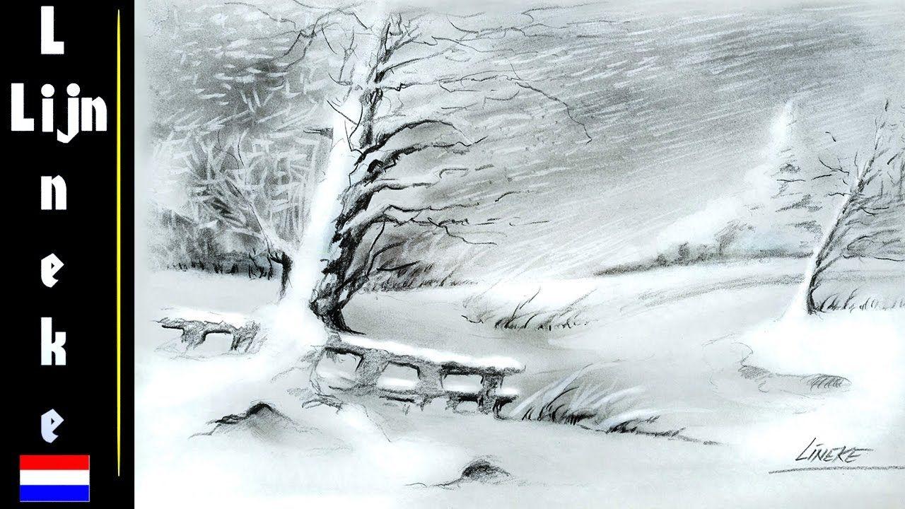 Hoe Teken Je Een Landschap Winterlandschap In Houtskool Voor