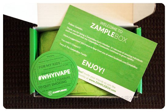 September 2014 Zample Box - Your custom-tailored box will include e-liquids at up to 70% off retail value. You can select from a variety of subscription packages and you have the ability to cancel at any time. Price: USD $24.95/month -- #smoking #vape #vaping #vaporizer #subscriptionbox #lifestyle #vapingliquid