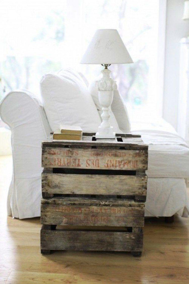 meuble en palettes de bois: table d'appoint très chic