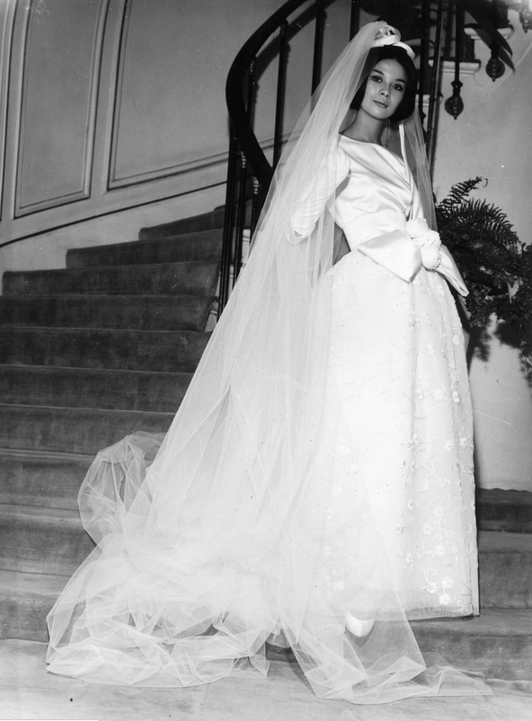1961 Hiroko photographed wearing a wedding gown by Pierre ...