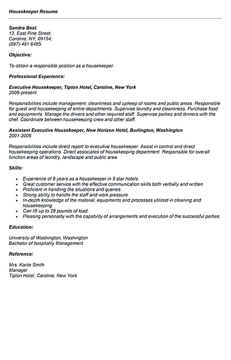 sample resume executive housekeeper