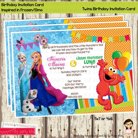 Twins Birthday Invitation Card Frozen And Elmo By