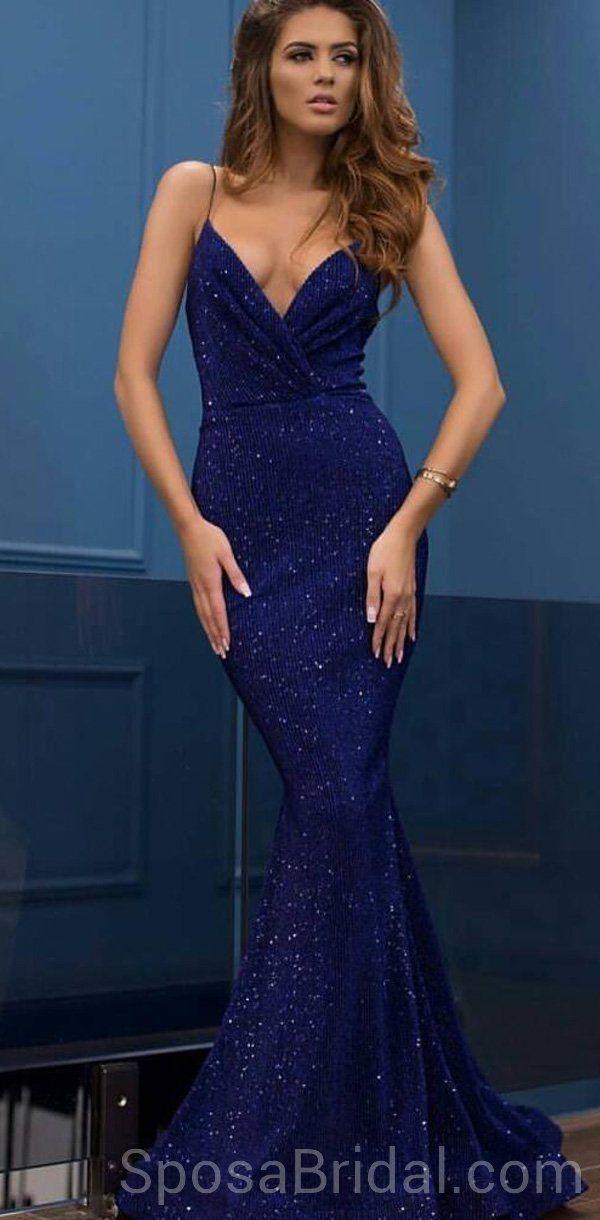 Rose Gold Sequin V Neck Mermaid Simple Prom Dress - Promfy