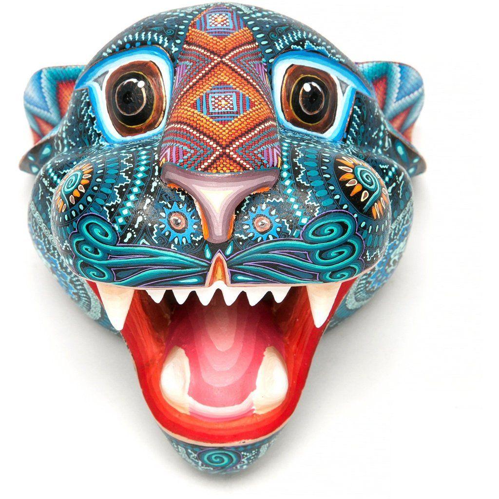 Mascara jaguar woodcarving alebrije mexican folk art sculpture