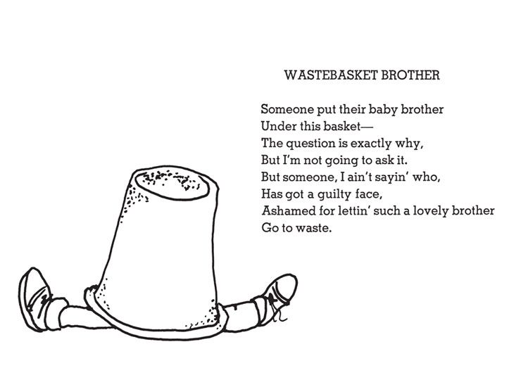 Funny Poems By Shel Silverstein: Shel Silverstein - Wastebasket Brother (740×550)
