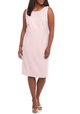 f7bc10aceede Kasper Tutu Pink Plus Size Solid Crepe Sheath Dress | Products ...