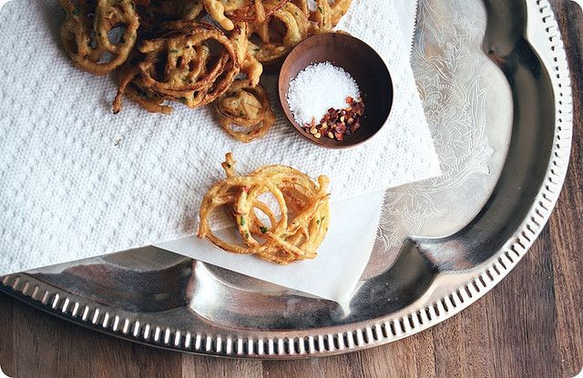 Indian Onion fritters by seven spoons • tara, via Flickr