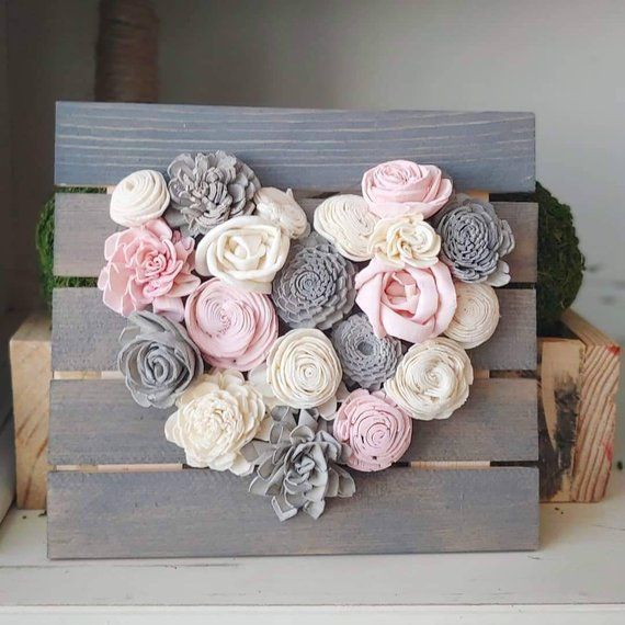 Photo of Pink and Gray Mini Wood Flowers Heart Board Sola Wood Flowers Baby Girl Nursery …