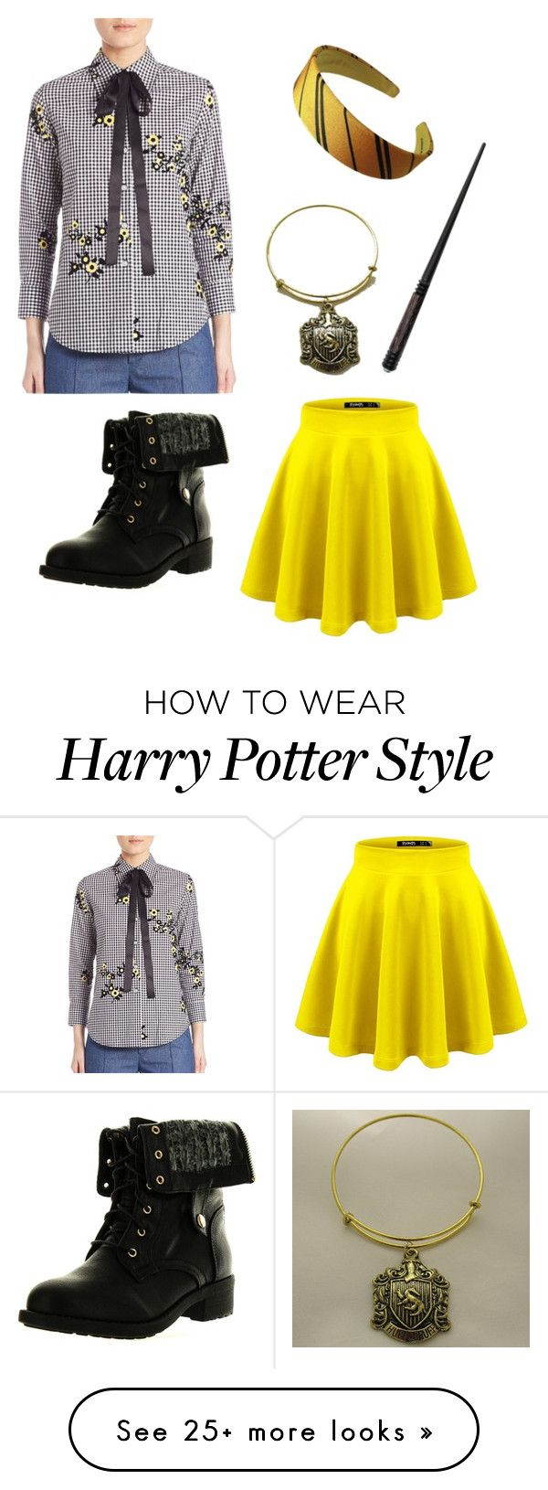 """""""Hufflepuff"""" by bandumb on Polyvore featuring Marc Jacobs, Refresh, harrypotter, hogwarts and Hufflepuff"""