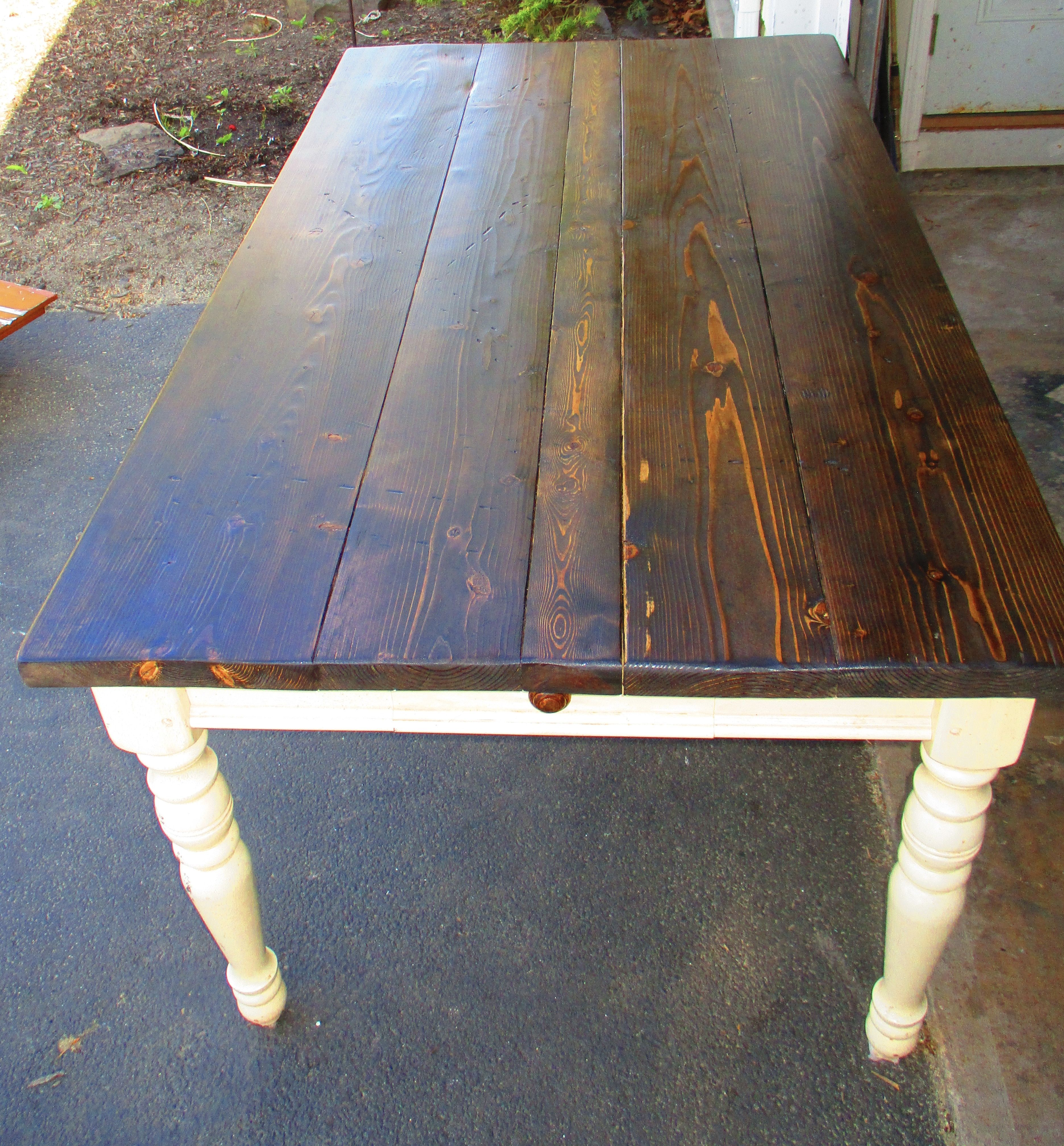 New table top for old table Used pine barn wood stained with