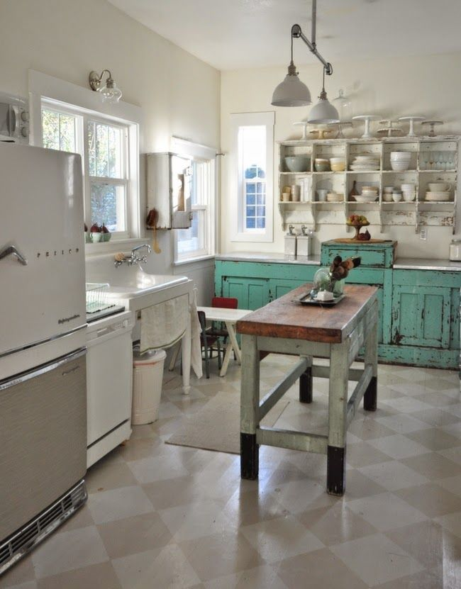 beautiful vintage kitchen- love the cabinet color #vintagekitchen