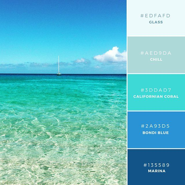 Gradating Shades Of Blue Ocean Waters With Sailboat In Distance Colors Gl Chill Californian C Bondi Marina Canva Design School Color
