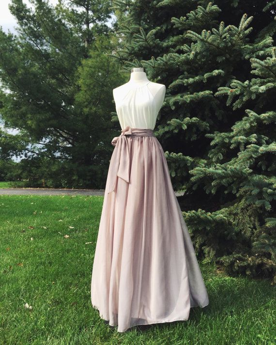 SWISS COFFEE/ CHAMPAGNE chiffon skirt, bridesmaid maxi skirt, floor length, tea length empire waist, maxi skirt, Sash is additional charge #knielangeröcke