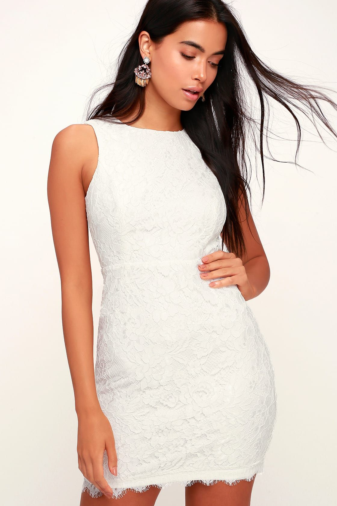 a3a5a45069f Rhythm of Love White Lace Backless Bodycon Dress