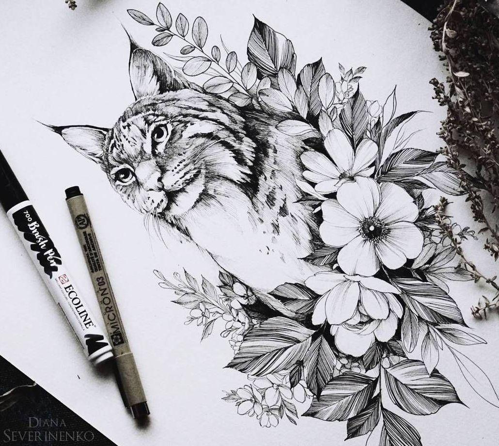 эскизы кошек и рысей значения татуировок с кошкой и рысью кошки