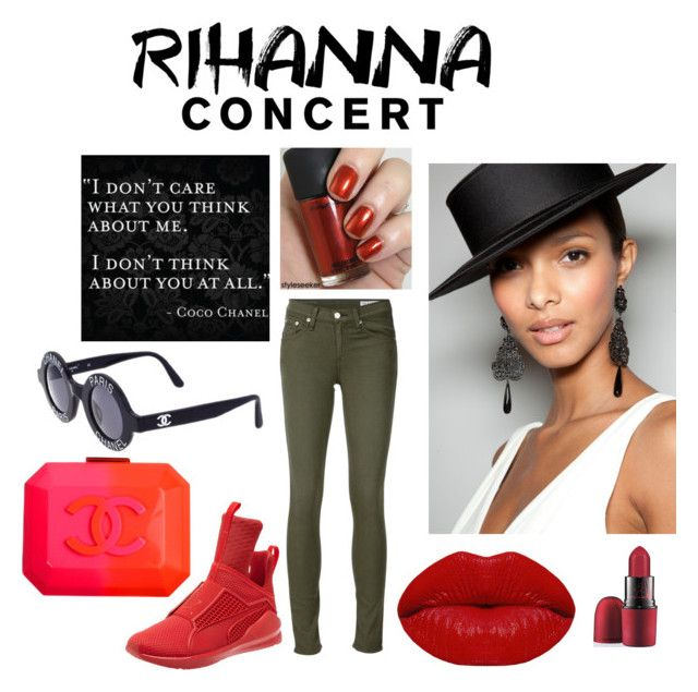"""""""my mom at a rihanna concert"""" by blasianmia ❤ liked on Polyvore featuring rag & bone/JEAN, Chanel, Winky Lux and MAC Cosmetics"""