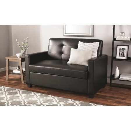 Charmant Mainstays Sleeper Sofa With CertiPUR US Certified Memory Foam Mattress    Black Faux Leather