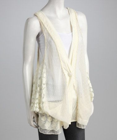 Take a look at this Beige Sheer Lace Vest by Ryu on #zulily today!