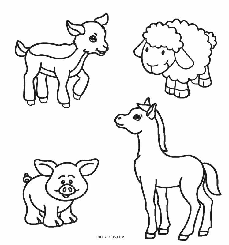 Preschool Printable Farm Animal Coloring Pages
