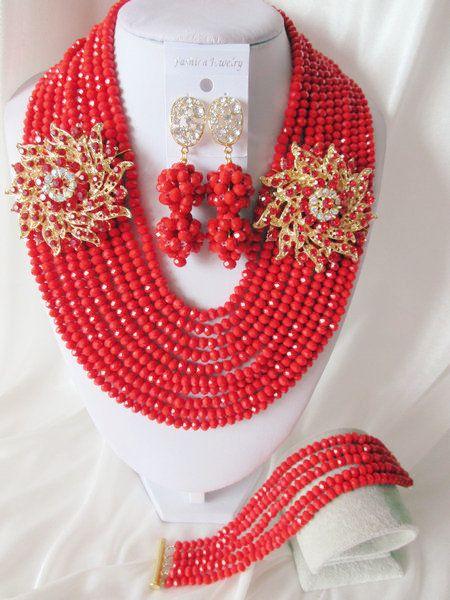 Fashion Nigerian African Wedding Beads Jewelry Set , Crystal Necklace Bracelet Earrings Set C0907 $83.88
