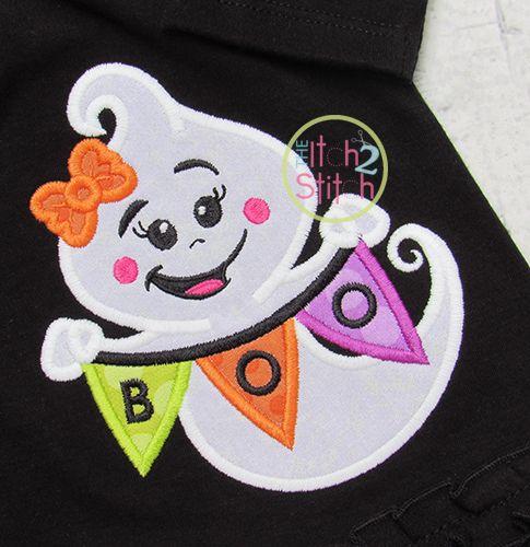 Boo Banner Ghost Girl Applique