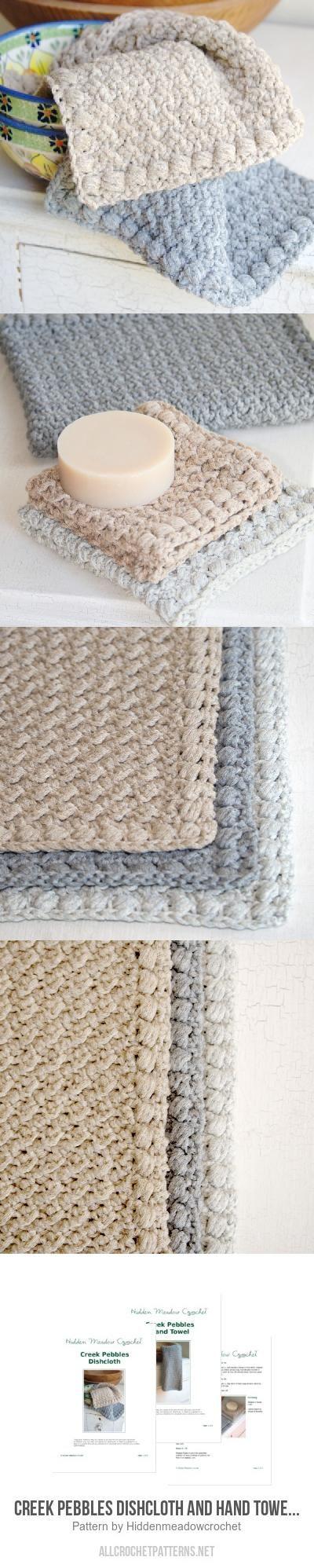Creek Pebbles Dishcloth and Hand Towel Set crochet pattern by Hidden ...