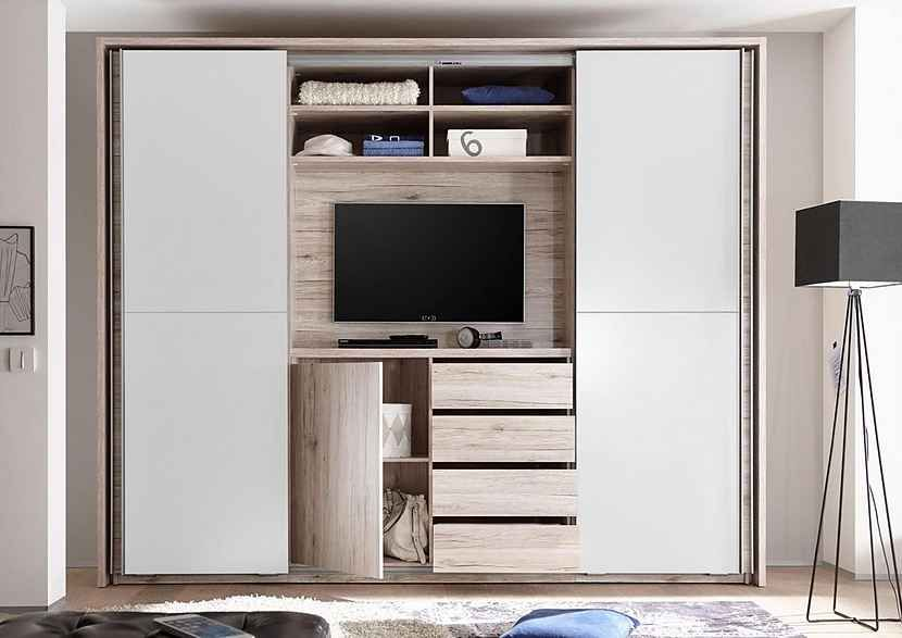 Schwebeturenschrank Mit Tv Fach Und Spiegel Kaufen Otto Schlafzimmer Eingebaut Schwebeturenschrank Rustikales Schlafzimmerdesign