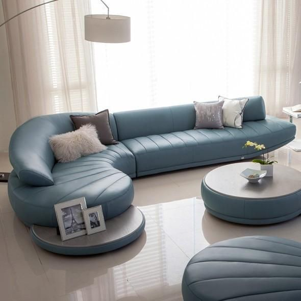 Curved Leather Sofa Set