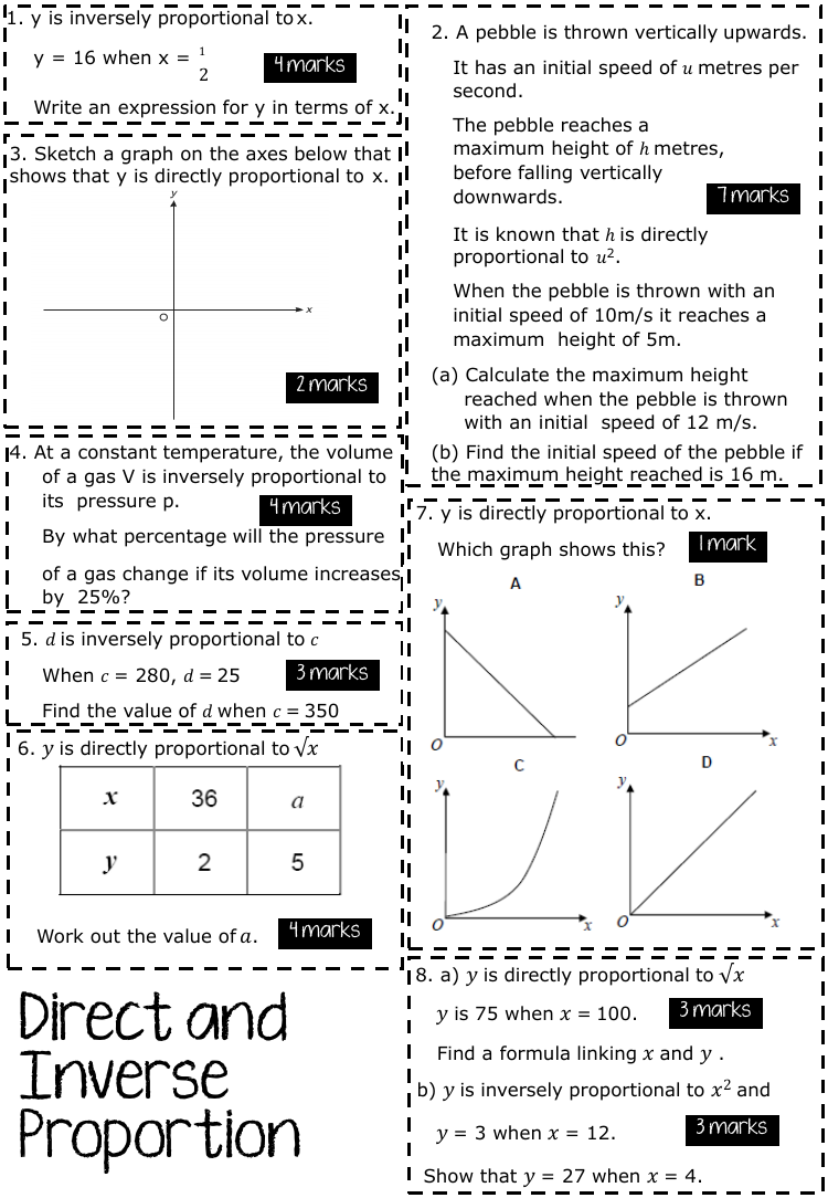 Exam Questions Direct And Inverse Proportion By Clover26 Teaching Resources With Images This Or That Questions Gcse Maths Revision Gcse Math
