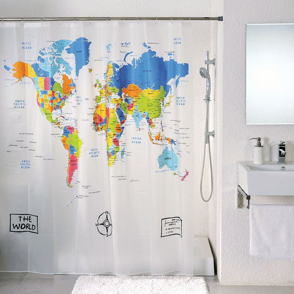 World map bath shower curtain 12 hook eva new hooks 12 and world map bath shower curtain 12 hook eva new gumiabroncs Gallery