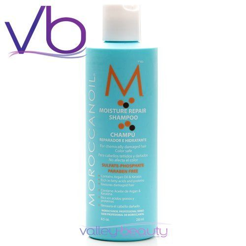 Moroccan Oil Shampoo 8.5 oz. by Moroccanoil. $19.99. Moroccan Oil Moisture Repair Shampoo gently cleanses while infusing hair with argan oil, keratin, fatty acids, proteins and other nutrients. This Moroccan Oil formula is free of sulfates, phosphates and parabens and is safe for color treated hair. The creamy lather helps repair chemically damaged hair, leaving it soft, shiny and full of body improving the hair's overall health.