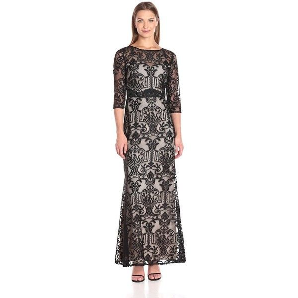 Sangria Women\'s 3/4 Sleeve Lace Evening Gown (890 MXN) ❤ liked on ...