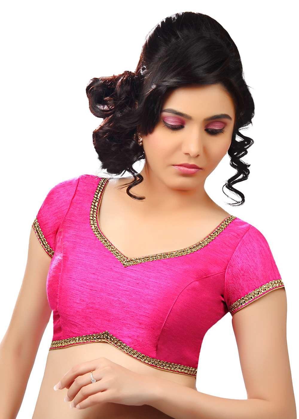 d68bc004449d3 Classic Lace Border Pink Sari Blouse SNT-X-203-SL