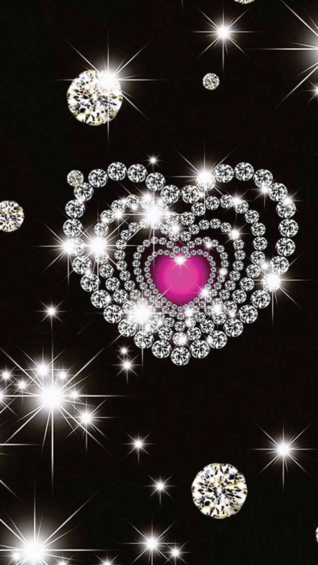 Heart Diamonds on Black Wallpaper | Wallpapers | Diamond wallpaper, Bling wallpaper, Heart wallpaper