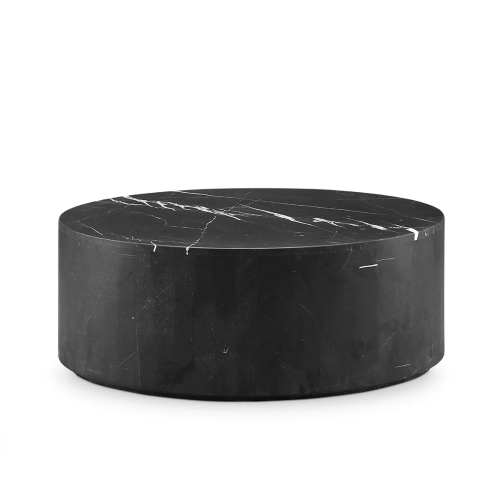 Black Marble Drum Coffee Table Oval Drum Coffee Table Black