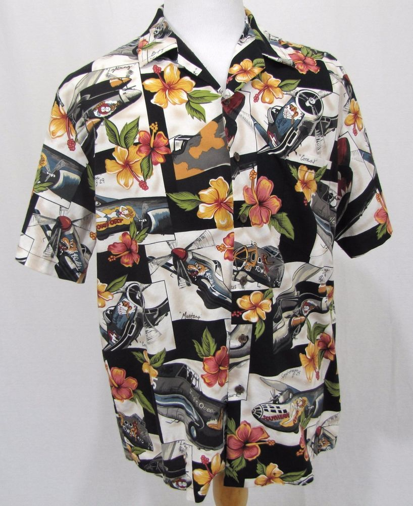 5003ce4b Kalaheo Hawaiian Shirt Large WWII Fighter Jets Planes Air Force Corsair Pin  Up #Kalaheo #Hawaiian